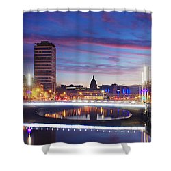 Shower Curtain featuring the photograph Rosie Hackett Bridge - Dublin by Barry O Carroll