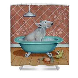 Shower Curtain featuring the painting Rosie In The Bliss Bubbles by Cynthia House
