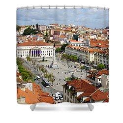 Rossio Square Shower Curtain by Carlos Caetano
