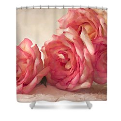 Shower Curtain featuring the photograph Rosy Elegance Digital Watercolor by Sandra Foster