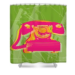 Rotary Phone Shower Curtain