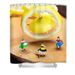 Shower Curtain featuring the photograph Rotating Dancers And Lemon Gyroscope Food Physics by Paul Ge