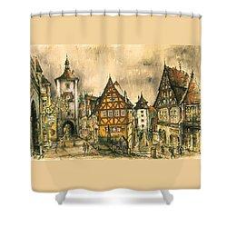 Rothenburg Bavaria Germany - Romantic Watercolor Shower Curtain