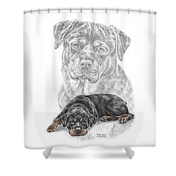 Rottie Charm - Rottweiler Dog Print With Color Shower Curtain