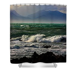 Shower Curtain featuring the photograph Rough Seas Kaikoura New Zealand by Amanda Stadther