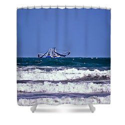 Shower Curtain featuring the photograph Rough Seas Shrimping by DigiArt Diaries by Vicky B Fuller
