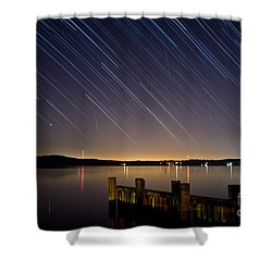 Round Bay Startrails And A Meteor Shower Shower Curtain by Benjamin Reed