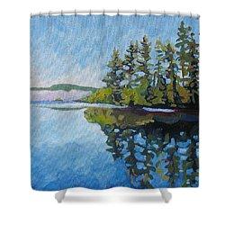 Round Lake Mirror Shower Curtain