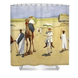 Round The Pyramids, From The Light Side Shower Curtain by Lance Thackeray