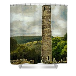 Shower Curtain featuring the painting Round Tower At Glendalough by Jeff Kolker