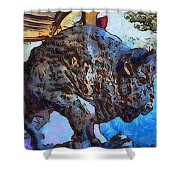 Round Up Market Buffalo Shower Curtain by Barbara Snyder