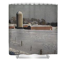Route 45 Barn Shower Curtain by Joan Carroll