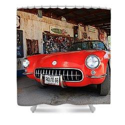 Route 66 Corvette Shower Curtain