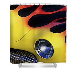 Route 66 Flaming Rod Shower Curtain by Bob Christopher