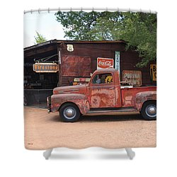 Route 66 Garage And Pickup Shower Curtain by Frank Romeo