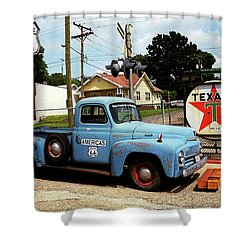 Route 66 - Gas Station With Watercolor Effect Shower Curtain