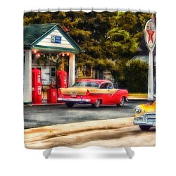 Route 66 Historic Texaco Gas Station Shower Curtain by Thomas Woolworth
