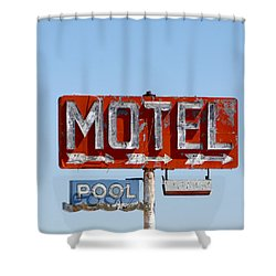 Route 66 Motel Sign Shower Curtain by Art Block Collections