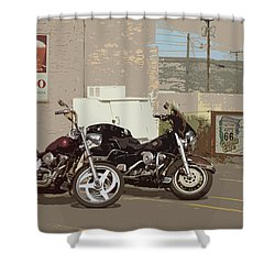 Route 66 Motorcycles With A Dry Brush Effect Shower Curtain by Frank Romeo