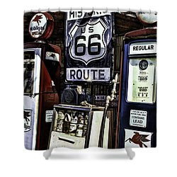 Shower Curtain featuring the painting Route 66 by Muhie Kanawati