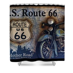Route 66 Odell Il Gas Station Motorcycle Signage Shower Curtain