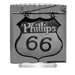 Route 66 - Phillips 66 Petroleum Shower Curtain by Frank Romeo
