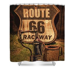 Route 66 Raceway Shower Curtain by Priscilla Burgers