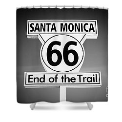 Route 66 Sign In Santa Monica In Black And White Shower Curtain by Paul Velgos