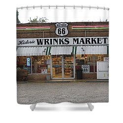 Route 66 - Wrink's Market Shower Curtain by Frank Romeo