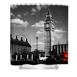 Routemaster Bus On Black And White Background Shower Curtain