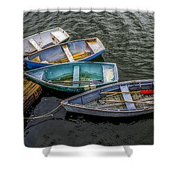 Row Boats At Dock Shower Curtain
