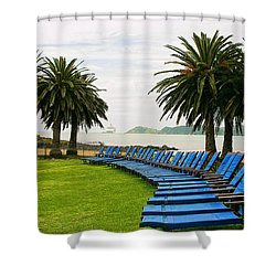 Row Of Blue Shower Curtain