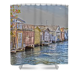 Row Of Boathouses Shower Curtain by William Norton
