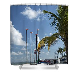 Row Of Sailboats Shower Curtain