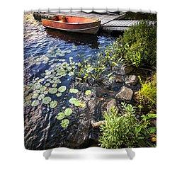 Rowboat At Lake Shore Shower Curtain by Elena Elisseeva
