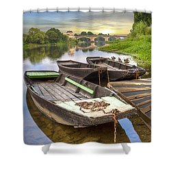 Rowboats On The French Canals Shower Curtain by Debra and Dave Vanderlaan