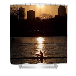 Rower Sunrise Shower Curtain