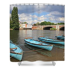 Rowing Boats At Hampton Court Shower Curtain