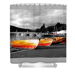 Rowing Boats Ready For Work Shower Curtain