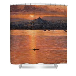 Rowing In The Sunset Shower Curtain by Marco Busoni