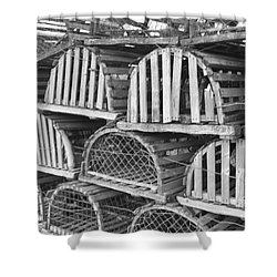 Rows Of Old And Abandoned Lobster Traps Shower Curtain by John Telfer