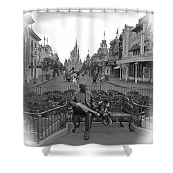 Roy And Minnie Mouse Black And White Magic Kingdom Walt Disney World Shower Curtain by Thomas Woolworth