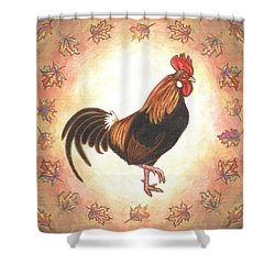 Roy The Rooster Two Shower Curtain by Linda Mears