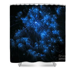 Royal Blue Fireworks Shower Curtain