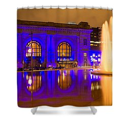 Royal Blue Reflections Union Station Shower Curtain by Steven Bateson