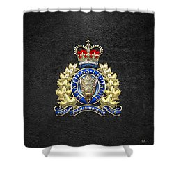 Royal Canadian Mounted Police - Rcmp Badge On Black Leather Shower Curtain