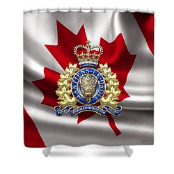 Royal Canadian Mounted Police - Rcmp Badge Over Waving Flag Shower Curtain