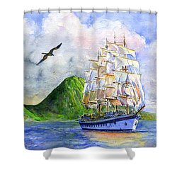 Royal Clipper Leaving St. Lucia Shower Curtain by John D Benson