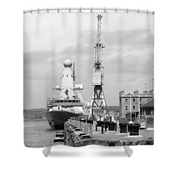 Royal Navy Docks And Hms Defender Shower Curtain