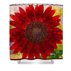 Shower Curtain featuring the painting Royal Red Sunflower by Omaste Witkowski